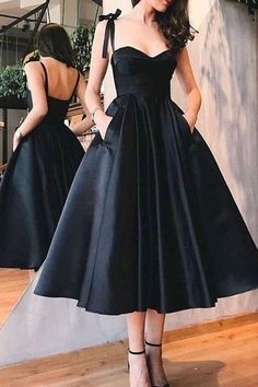 Straps Black Short Homecoming Dress With Pockets S11030