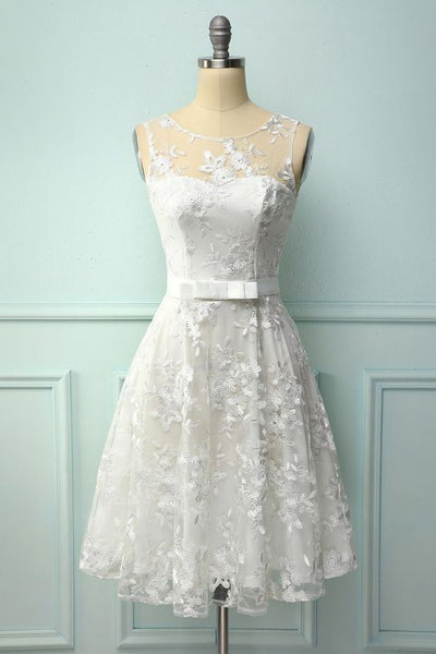 White Lace Dress with Bow Homecoming Dress  S12217