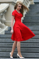 Red  Short  Sleeves Dress, Formal Dress, Prom  Dress S6964