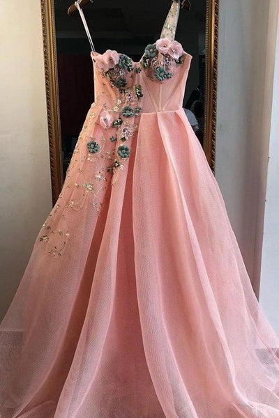 Unique A Line One Shoulder 3D Appliques Pink Tulle Long Beads Prom Dress S11253