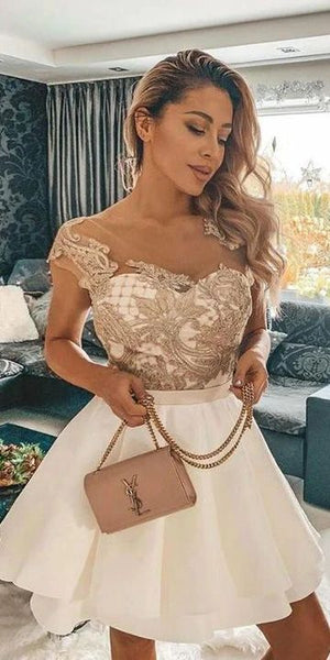 Off the Shoulder Short Homecoming Dresses with Embroidery S10860