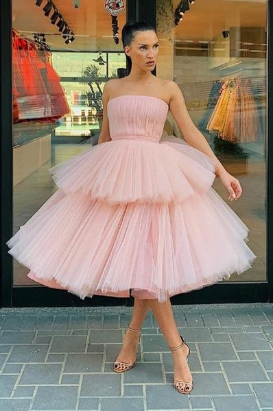 pink ball gown prom dresses short tea length tulle strapless elegant prom gowns S11005