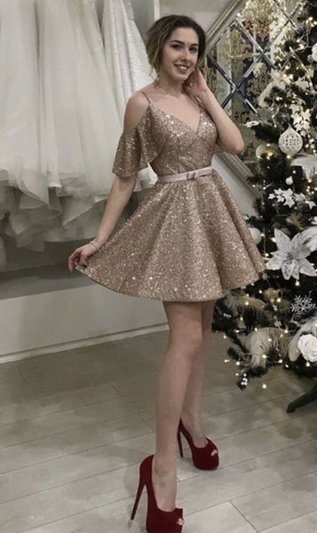 short rose gold prom homecoming dresses S10857