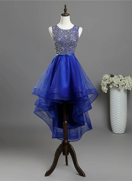 Royal blue tulle high low sequins prom dress S8673