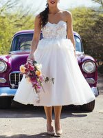 White A-line Sweetheart Tea-length Tulle Homecoming Dress  S11044