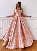 Pink a line long prom gown formal dress S7097
