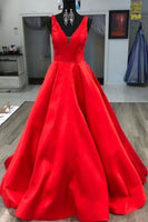 Gorgeous V Neck Red Long Prom Dress S11934