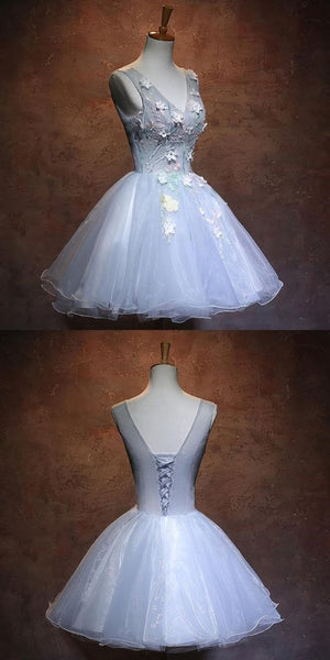Light Blue Homecoming Dresses With Appliques,Affordable Organza Short Homecoming Dresses With V-Neck S11626