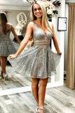 A-line Short Homecoming Dresses, Sparkle Short Grey Homecoming Dresses S13069
