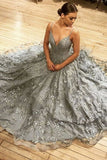 Gray V-neck Tulle Lace Long Prom Dress | A-line Long Evening Gown  S12084