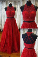 Two Piece A-line Jewel Sweep Train Open Back Red Prom Dress with Beading Appliques S10980