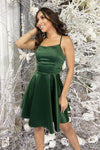 Simple Short Backless Green Backless Green Formal Graduation Homecoming Dress  S11301