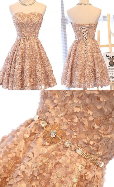 Lovely Champagne Knee Length Homecoming Dress S10735