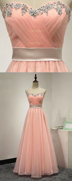 Pink chiffon strapless long beaded sweet prom dress, pink customize evening dress  S6818