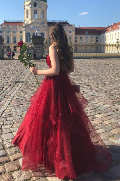 Ruffles Red Long Prom Dress with Open Back S11542