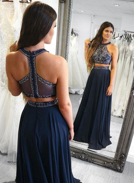 Dark Navy Two Pieces Long Prom Dresses with Beaded Bodice,Strapless Chiffon Evening Dress S11819