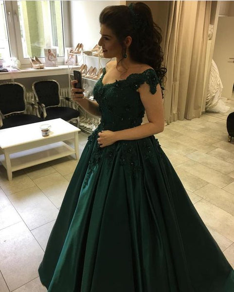 Dark Green Off Shoulder Satin Sweetheart Long Ball Gown Prom Dresses With Appliques S11039