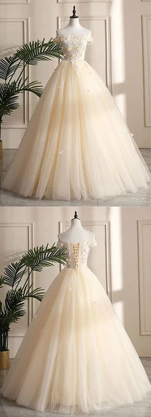 Champagne Tulle Off Shoulder Long Prom Dress, Flower Lace Prom Gown With Sleeve S8661