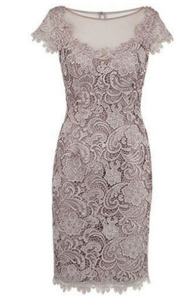 Sheath Homecoming Dresses Cap Sleeves Bateau Knee-length Lace S10943