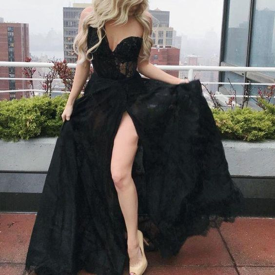 New Arrival A Line Sweetheart One Shoulder Lace Side Slit Long Lace Prom Dresses  S6859