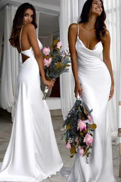 Sexy Slim White Prom Dresses with Cowl Back S8674