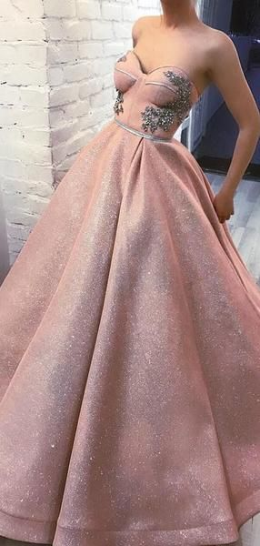 Sparkly Dusty Pink Sweetheart Strapless Ball Gown Prom Dresses S11265