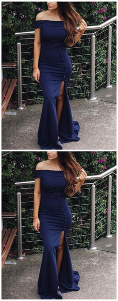 Mermaid Off-the-Shoulder Sweep Train Navy Blue Satin Prom Dress with Split,  S7057