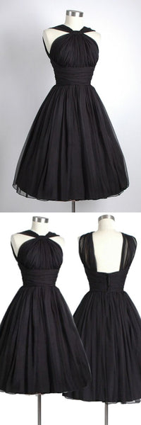 Vintage Knee-Length Sleeveless Open Back Black Homecoming Dress Ruched S12009