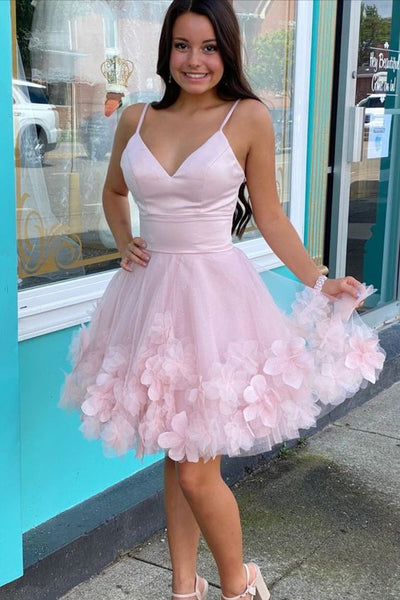 princess A-line pink short homecoming dress birthday party dress with 3D flowers and spaghetti straps S13068