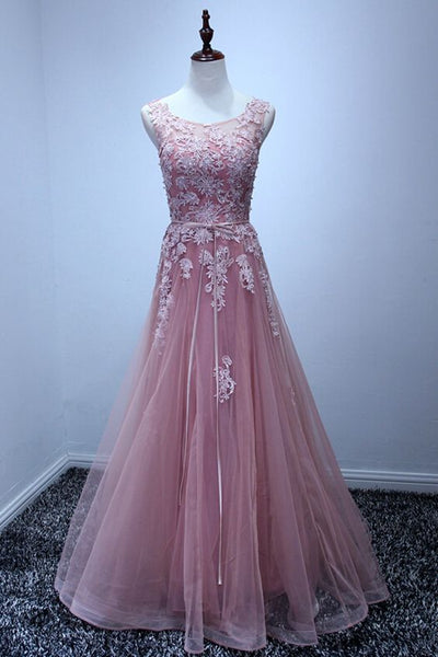 Charming A-line Tulle Prom Dresses Scoop Neck Appliques Floor Length Party Dresses S11853