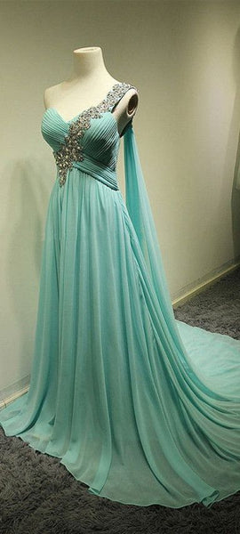 Charming Prom Dress,One-Shoulder Chiffon Prom Dress,A-Line Prom Dresses,Sweetheart Prom Dress S11893