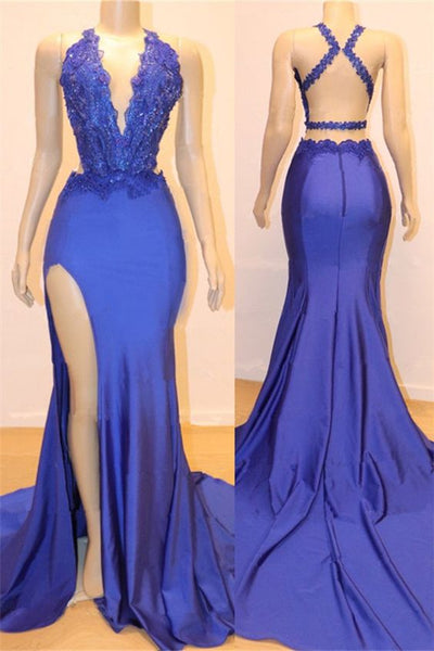Sexy V-neck Sexy Open back Side Slit Prom Dresses Cheap Elegant Royal Blue Mermaid Beads Lace Evening Gowns S6662