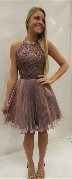 Short Halter Homecoming Dress with Sequin Bodice S11959