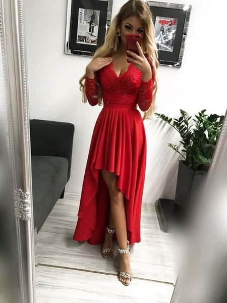 Long Sleeve Appliques Evening Dress, Red Long Sleeve Prom Dress, High Low Party Gown S6695