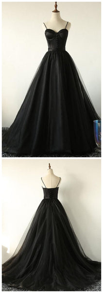 Ball Gown Spaghetti Straps Black Tulle Prom Dress Long Brush/Sweep Train Prom/Evening Dress  S6852