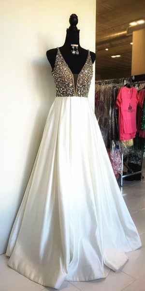 White Satin Long Prom Dress with Sequins Top S12107