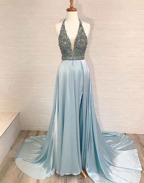 Crystal Beading A Line Prom Dress, Sexy Sleeveless Prom Dresses, Long Evening Dress  S11920
