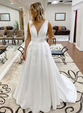 Simple A Line Deep V Neck White Long Prom Dress with Ruffles S11921