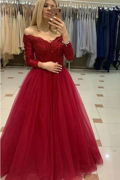 Elegant 3/4 Sleeve Tulle Mermaid Appliques Prom Dress  S11278