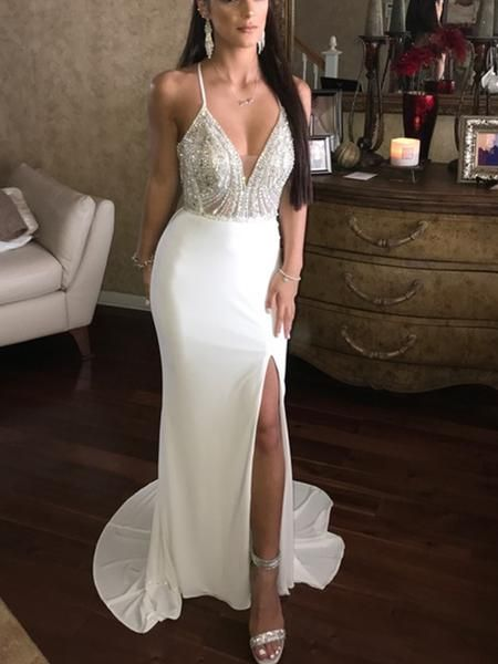 Spaghetti Long Mermaid Ivory Beaded Prom Dresses, Sexy Long Prom Dresses S6751