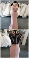 Mermaid Round Neck Sweep Train Pink Beaded Prom Dress With Lace S12149