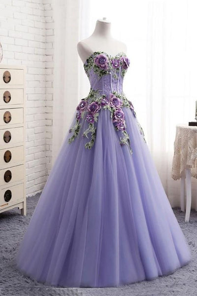 Sweetheart lavender tulle long 3d flower evening dress, senior prom dress S7022