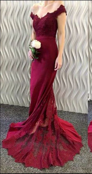 Charming Burgundy Prom Dresses,Mermaid Off Shoulder Prom Dress S7229