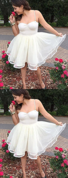 Charming Tulle Short Homecoming Dress, Spaghetti Straps Cute Prom Dress S11296