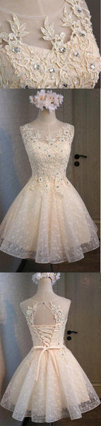 Lace Beaded Cute Homecoming Dresses S11092