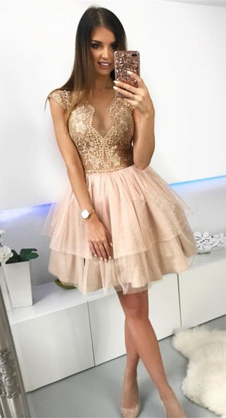 A-Line Crew Above-Knee Champagne Tiered Homecoming Dress with Lace  S11861