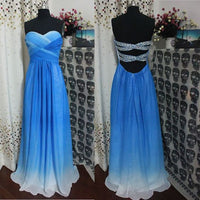 A-line Sweetheart Royal Blue Ombre Prom Dress,Open Back Gradient Long Prom Dresses S11884