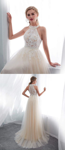 Charming Lace Long Prom Dresss, Tulle Party Dress, Prom Dresses  S8665