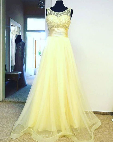 Yellow Tulle Empire Long Prom Dress , Formal Gown With Beaded Bodice S10956