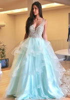 Blue V neck Tiered Tulle Long Prom Dresses S11439